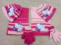5 set cartoon hellokitty Knitted crochet Hat + scarf + gloves Children Hat Set Christmas New Year Gift SM840