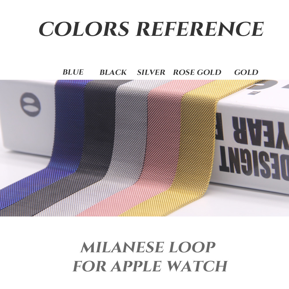 Milanese Loop Stainless Steel Band For Apple Watch 38mm 42mm Magnetic adjustable buckle with adapters For