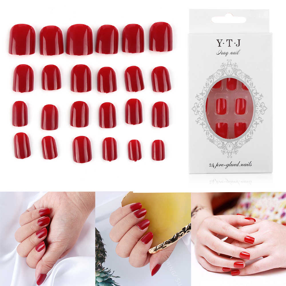 24pcs/kit French Manicure Full Cover Nail Tips French Nails DIY Nail Extension Tip Artificial Fake Nails Press On Tips