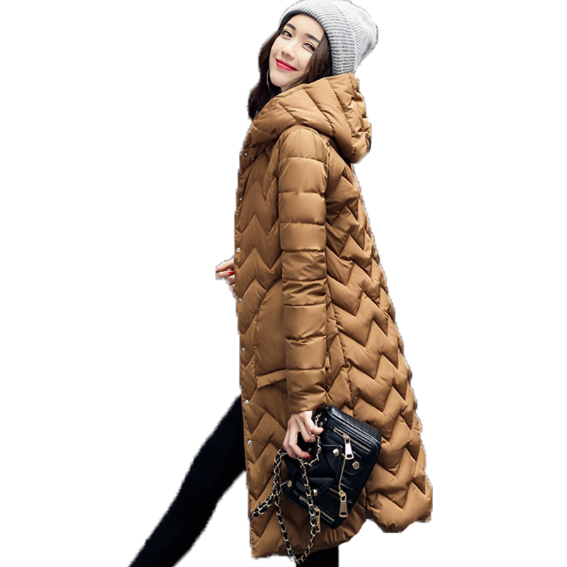 2017 New Women Padded Jacket Fashion Winter Casual Medium Long Solid Slim Long Sleeve Hooded Parkas Casacos De Inverno Feminino