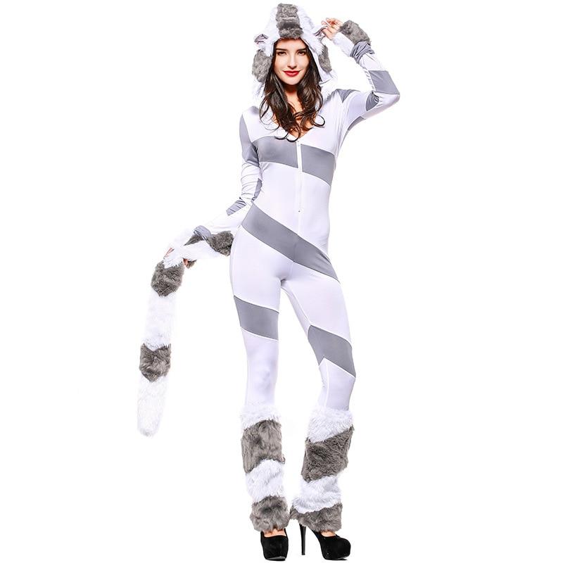 Umorden Deluxe Striped Furry Polar Bear Costume Jumpsuit Women Adult Halloween Animal Cosplay Costumes Game Uniform