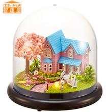 Furniture DIY Doll House Wodden Miniatura Doll Houses Furniture Kit Glass Cover Assemble Dollhouse Toys For Children gift B16