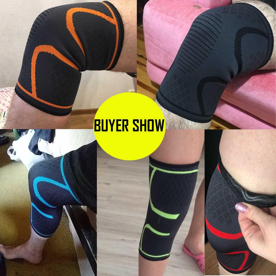 1PCS Fitness Hardlopen Fietsen Knie Ondersteuning Braces Elastische Nylon Sport Compressie Knie Pad Sleeve voor Basketbal Volleybal