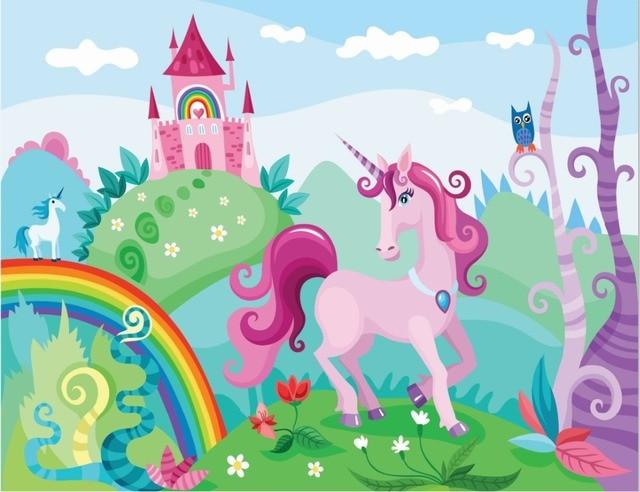 7x5ft Rainbow Castle Clouds Sky Green Garden Unicorn Owl