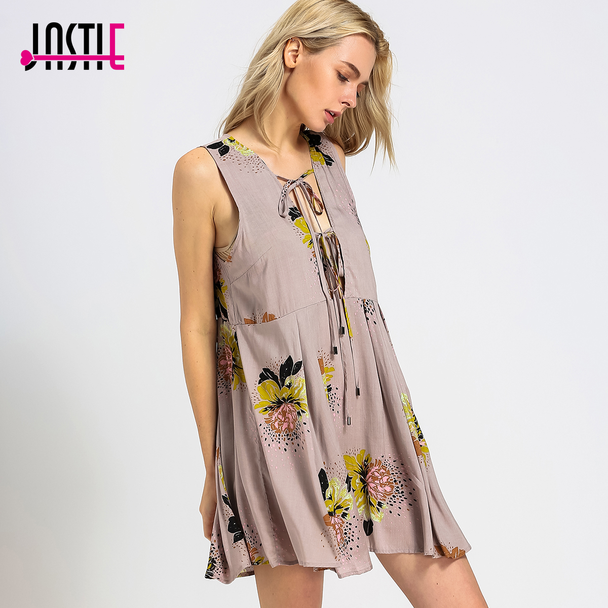 cdff53e55273 Jastie Loveliest Day Tunic Mini Dress Flowy Deep V-Neck Low Open Back Sexy  Women Dresses Printed Sleeveless Boho Vestidos Y-159