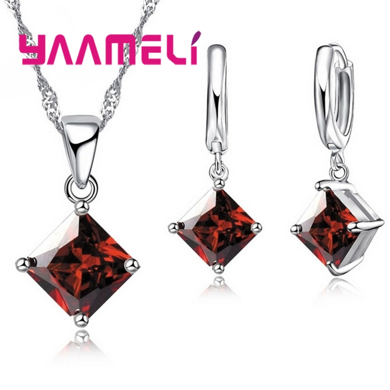 New Arrival 925 Sterling Silver Women Accessories Earrings Jewelry Set With Shiny Square Shinny CZ Necklace Earrings 3