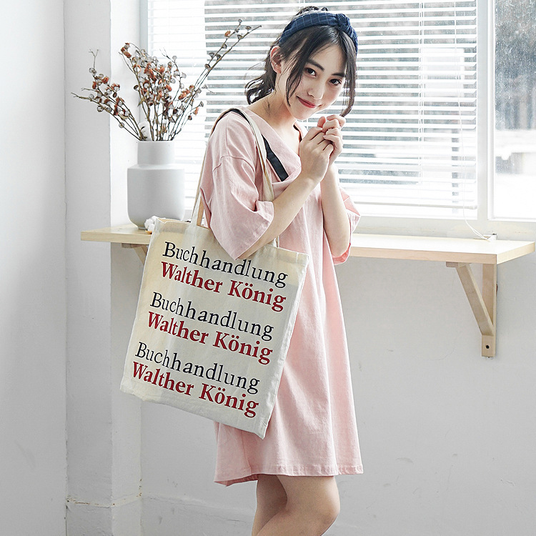 Simple double sided letter pack small fresh canvas bag wholesale Art single shoulder environmental protection shopping bag in Shoulder Bags from Luggage Bags