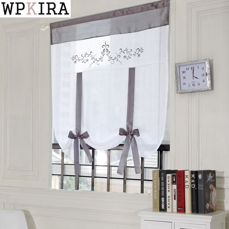 Kitchen short sheer burnout roman blinds curtains peony sheer panel tulle window treatment door curtains home decor DL-DS003&30