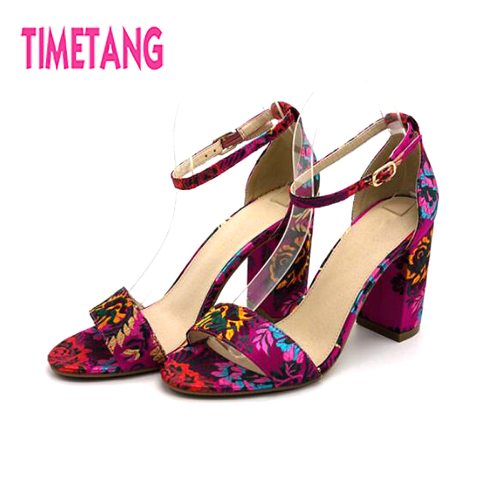 TIMETANG for Woman Shoes Vintage Embroider Open Toe Square Heel Women Sandals 2018 Free Shipping Casual/Dress Summer Shoes sandals new summer 2017 basic shoes woman open back strap sandal square heel fashion beige black 35 40 free shipping bassiriana