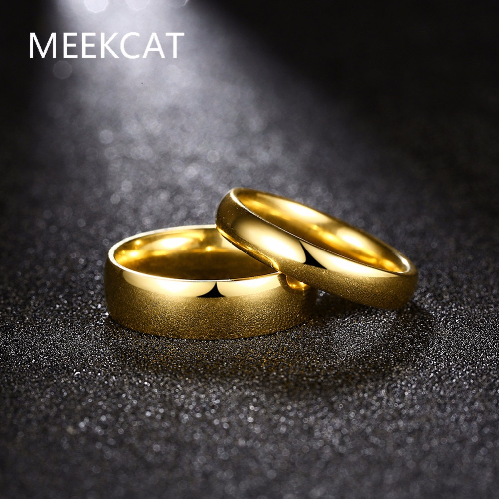 Simple Couple Wedding Rings Pair Gold Color Couple Rings Stainless Steel Jewelry Couple Engagement Rings Set for Women and men