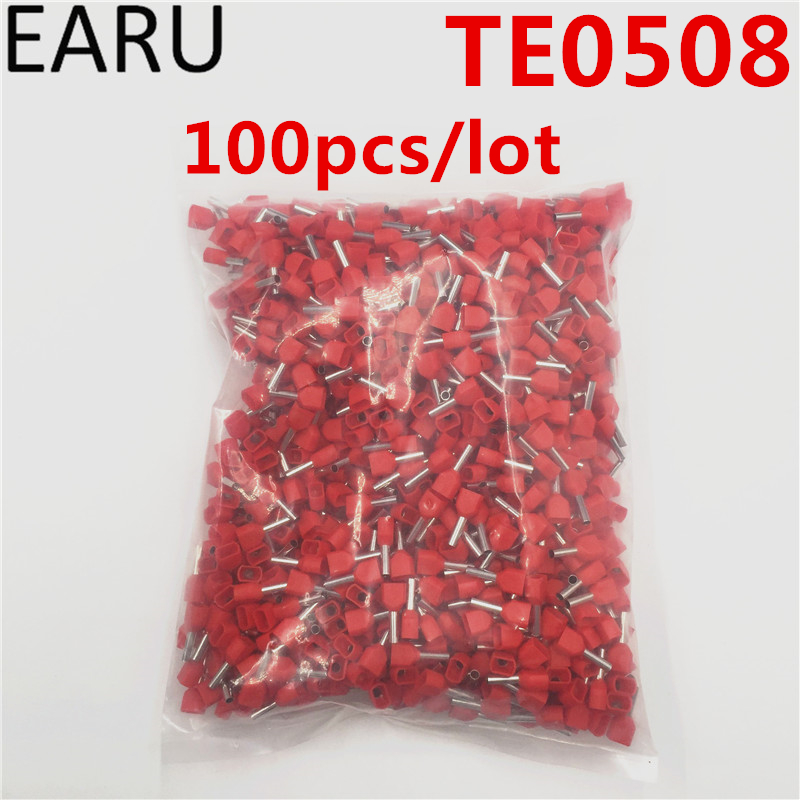 100PCS E Tube TE0508 Type Double Pipe Insulated Twin Cord Cold-press Terminal Block Connector Needle End Multicolor 2X0.5mm2 100pcs box zhongyan taihe acupuncture needle disposable needle beauty massage needle with tube