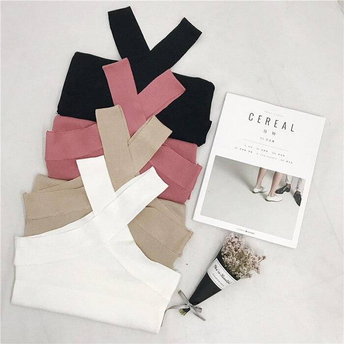 2018 Women Summer V Neck Sexy Korean Sleeveless Vest Knitted Female Tunic Streetwear Bralette Crop Top White Black Pink