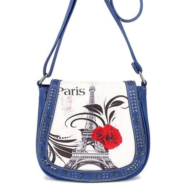 Paris Eiffel Tower Prints Leather Women Messenger Bag Lady Shoulder Handbags For Las Crossbody