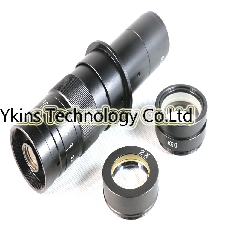 Adjustable MAX 180X Magnification Zoom C-mount Lens + 2pc 0.5X 2X Barlow Auxiliary Lens for Industry Microscope Camera Eyepiece цена