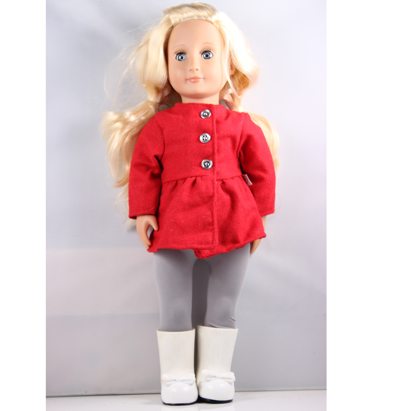 18 inch American Girl Doll Gold Hair Our Generation Doll With Red Coat And White Boots DHL UPS FEDEX EMS Express Free Shpping