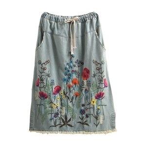 Image 5 - Frete grátis 2020 novo borlas algodão denim longo mid calf saias para as mulheres verão cintura elástica a linha bordado buracos saias