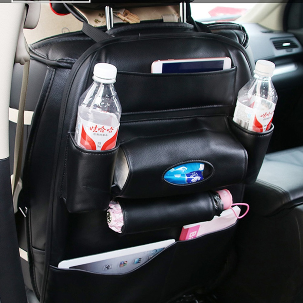 PU Leather Car Seat Back Bag Organizer Storage Phone Holder Multi-Pocket Stowing Tidying aumohall car multi pocket organizer large capacity folding storage bag trunk stowing and tidying