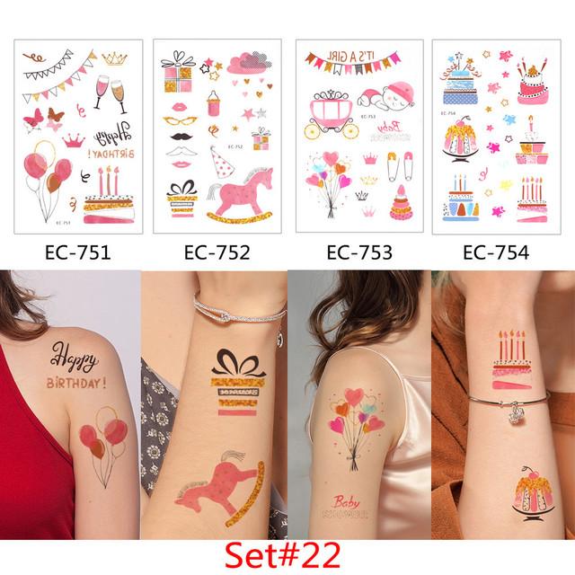 Glaryyears 4 Pieces/Set Temporary Tattoo Sticker Carton Fake Tatoo Flash Tatto Waterproof Small Body Art Children 4 Designs