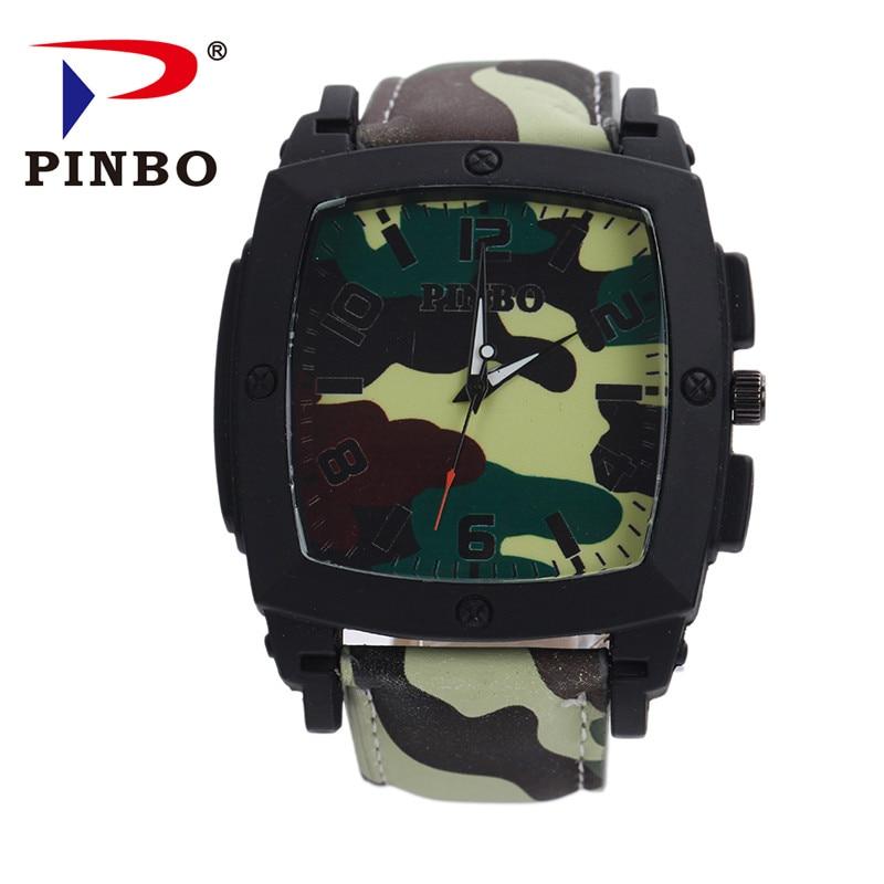 Relogio Masculino 2017 New PINBO Brand Men Sports Quartz Watch Men leather Strap Military Wrist Watches Clock Hot Sale
