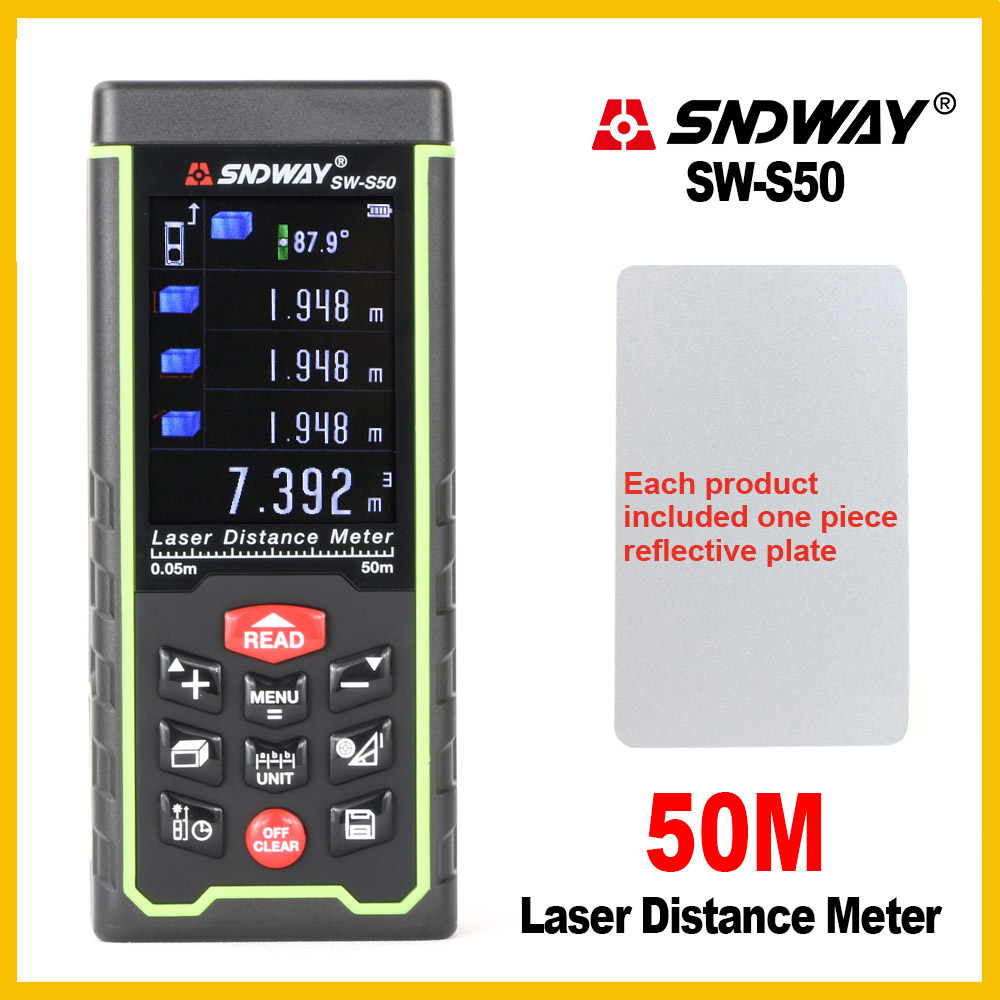 Sndway USB Recharge Portable Colorful Screen Digital Laser Distance Meter Range Finder Rangefinder SW S50 70