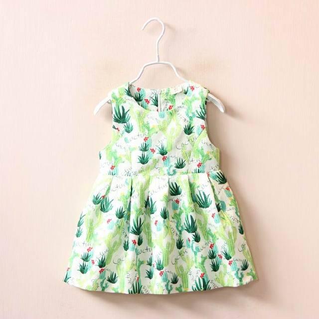 2016 Осенью Новый девочка платье кактус Зеленый свежий Платье Без Рукавов Мода Сарафан Детская Одежда 310525