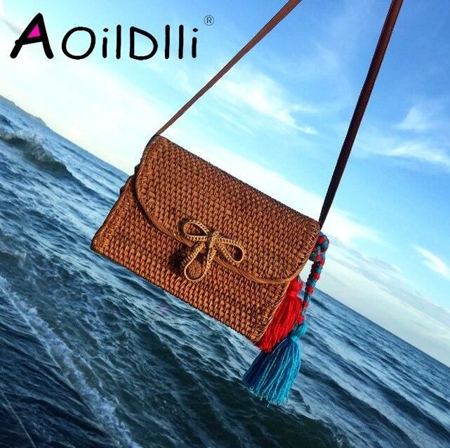 Bali Bohemia Beach Circle Bag Island Hand Woven Bag Square buckle Rattan Straw Bags Satchel Wind bag