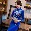 New Arrival Fashion Autumn Winter Velvet Blue Long Cheongsam Chinese Vintage Style Women Dress Elegant Qipao M L XL XXL XXXL
