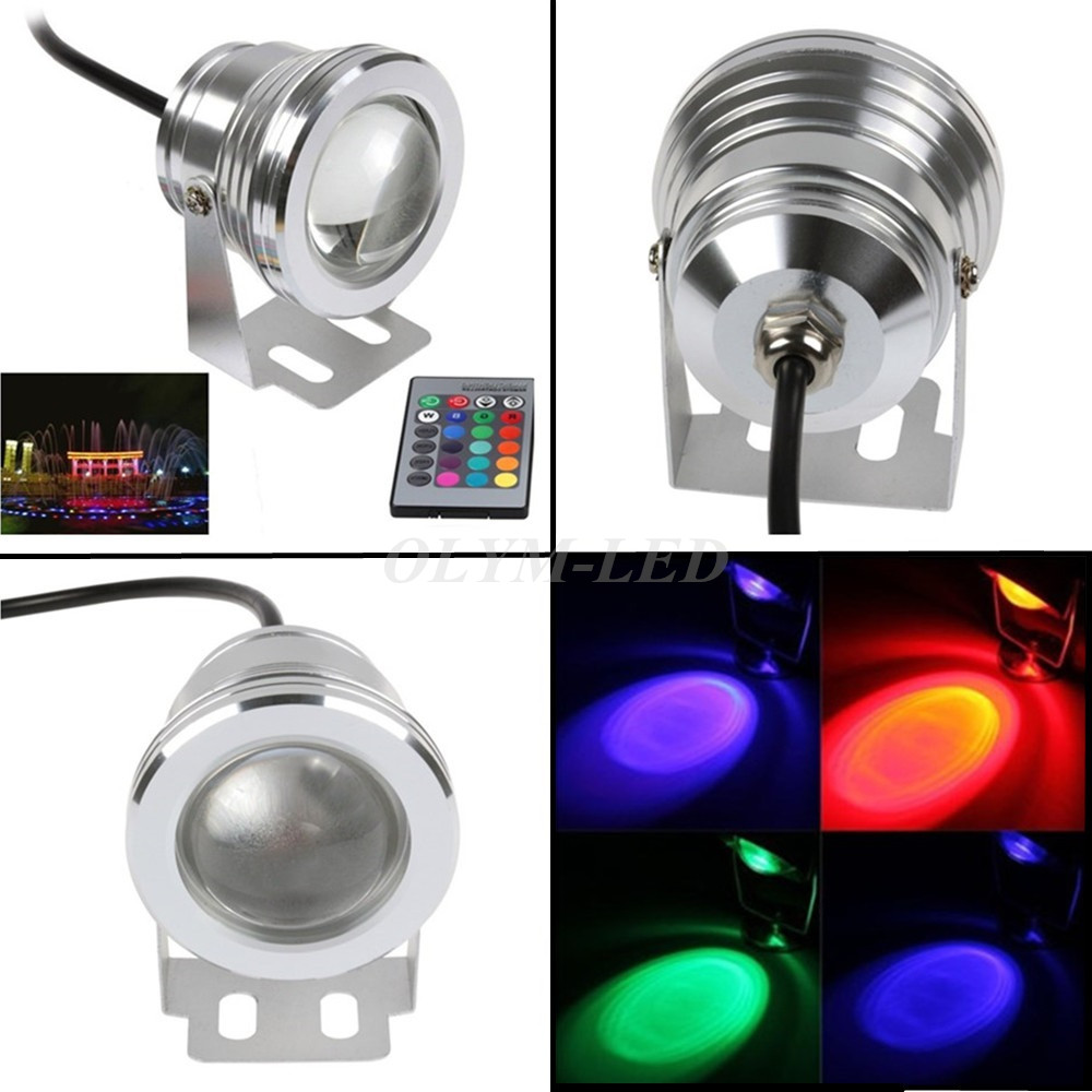 Waterproof 10w Rgb 12v Led Underwater Light Fishing Lamp 1000lm Underwater Fourtain Light