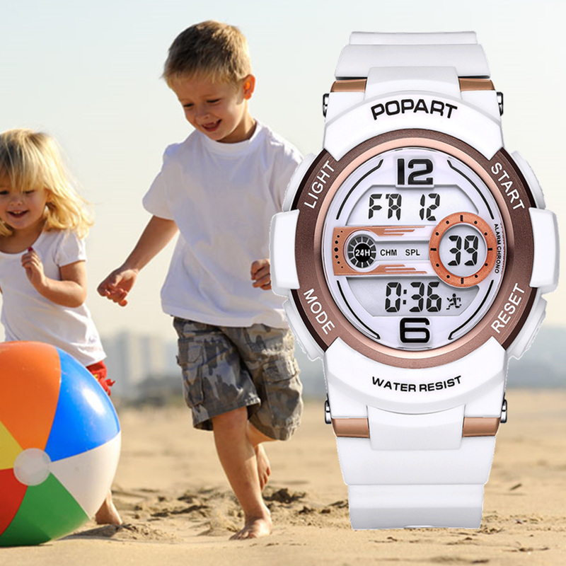 POPART Children's Watches Kids Wrist Watch Back Light Alarm 50m Waterproof Gold Sport LED Display Digital Watch For kids Boys