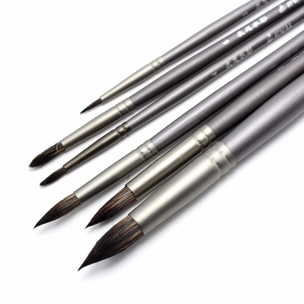 6 Pcs Artist's Paint Brush Gouache Brushes Hair Squirrel Round Brush For Watercolor Oil Acrylic Art School Supplies Material6 Pc