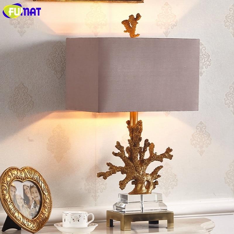 FUMAT Crystal Base Coralline Frame Table Lamps Luxury Gold Desk Light LED E27 7