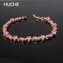 HUCHE Luxury Wave Copper Charm Bracelets For Women Prong Setting AAA CZ Crystal Elegant Gift For Wedding Fashion Jewelry HYJL104