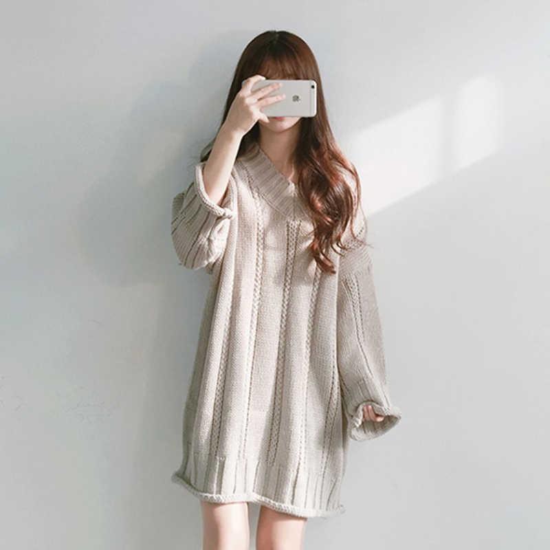 가을 겨울 긴 스웨터 드레스 여성 섹시한 v-목 긴 소매 느슨한 스웨터 점퍼 한국어 솔리드 두꺼운 여성 니트 풀오버