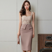 Summer Color Block Lace Sexy Slim Splicing Pencil Dress Strappy-backless Bodycon Mid Women Fashion Party