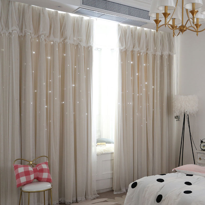 Shading high precision hollow star curtain black silk high precision fabric minimalist modern lace princess room children's room