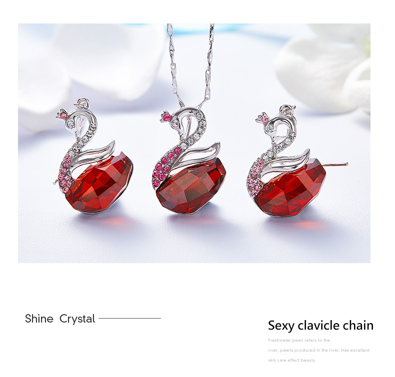 Swarovski Swan Necklace Earrings Set (15)