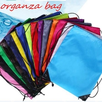 10pcs/lots Polyester cloth Draw pocket nylon Drawstring shopping Travel Storage Pocket double Shoulder package bundle pocket