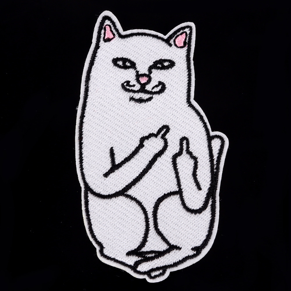 1 unids pieza divertido gato medio dedo bordado parche hierro en ...