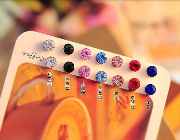 Min $ 7 (mix Order) Lowest Price Earring 2015 Hot-sided One Bright Pearl (5 Mm) CZ Crystal Imitation Pearl Stud Earrings Big
