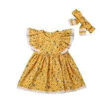 цена на Fashion Kids Party Dress Summer Flower Print Toddler Clothes Wedding Dress For Girl Kids Sundress Headband Cotton Girls Dresses