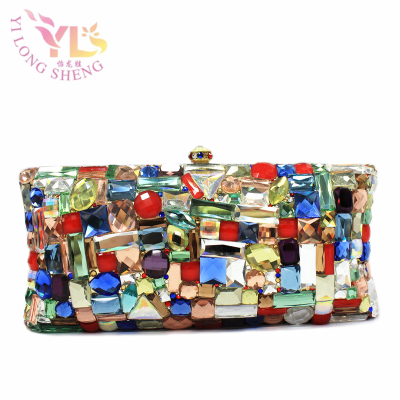 Glass Evening Clutch Bags Evening Bag Factory Rhinestone for Evening Luxury Crystal Women Clutch New Crystal Women YLS-G77 blue women clutch crystal evening bags women rhinestone hard box clutch purse evening bags hard box cocktail wedding bag yls 32