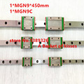 Free shipping 9mm Linear Guide MGN9 L= 450mm linear rail way + MGN9C or MGN9H Long linear carriage for CNC X Y Z Axis
