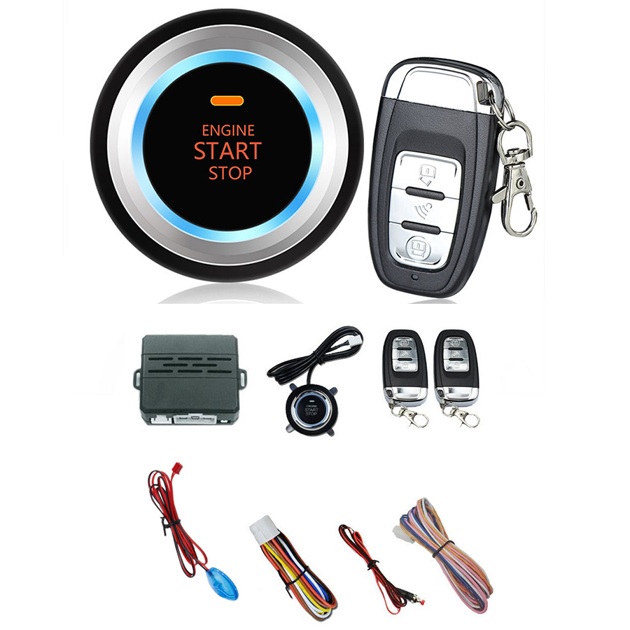 Car Start Push Button Remote C3 Alarm System Security Audible alarm Ignition Engine Free Shipping easyguard pke car alarm system remote engine start stop shock sensor push button start stop window rise up automatically