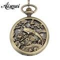 Retro Roman Skeleton Relogio De Bolso Men Hand Wind Mechanical Pocket Watch with bird flower Hollow Clock Male female Watch