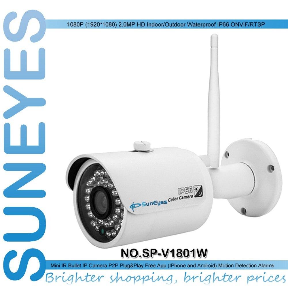 SunEyes  SP-V1801W 1080P Full HD Mini IP Camera Outdoor Wireless Wifi ONVIF P2P and IR Night Vision Surveillance Camera suneyes sp p702w┬а720p wireless┬аdome┬аeyeball hd ip┬аcamera┬аw tf onvif motion 2 led ir night vision