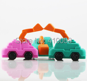 Free Shipping  Promotion 70 Pcs lift truck eraser set / construction style eraser for kids/ birthday gifts mini eraser set