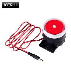 Kerui mini com fio sirene chifre para sistema de segurança alarme em casa sem fio 120 db sirene em voz alta