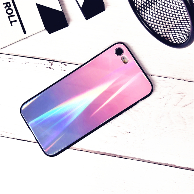 BONVAN For iPhone X 7 8 Plus Tempered Glass Back Case Gradient Color Laser Aurora Silicone Bumper For iPhone 7 6S 8 6 Plus Cover26