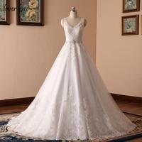 Vestido De Noiva New Design A Line Lace Wedding Dress 2016 V Neck Beaded Sash Backless