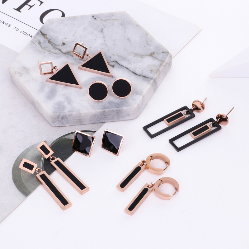 6 Style Top Brand <font><b>Rose</b></font> <font><b>Gold</b></font> Color Zircon <font><b>Earring</b></font> for Woman 316L Stainless Steel Fashion <font><b>Jewelry</b></font> Never Fade image